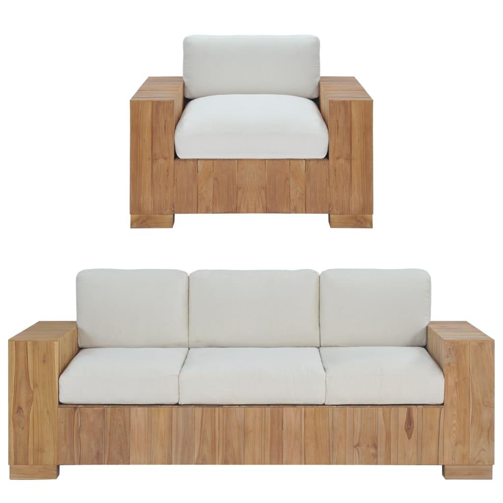 vidaXL 2 częściowy zestaw wypoczynkowy, lite drewno tekowe