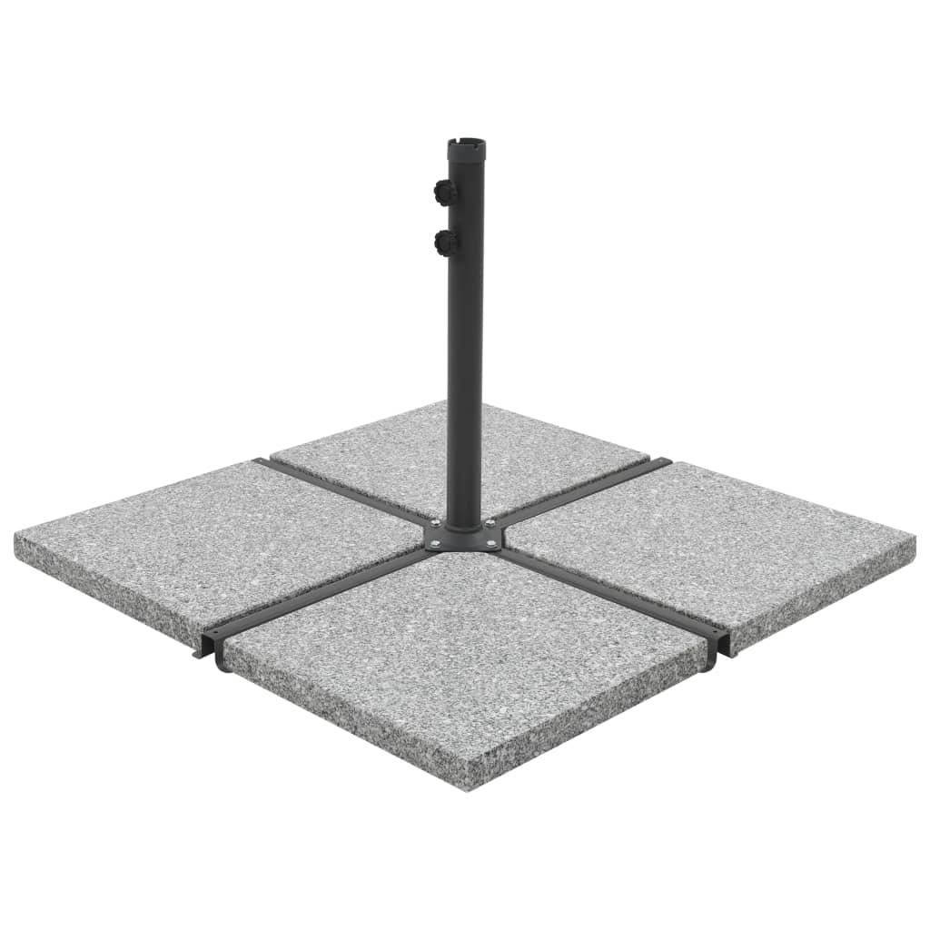 Závaží pro slunečník 4 ks šedá žulová čtvercová 100 kg