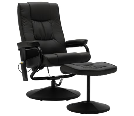 vidaXL Masažni stol s stolčkom za noge črno umetno usnje