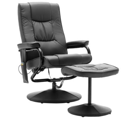 vidaXL Masažni stol s stolčkom za noge sivo umetno usnje