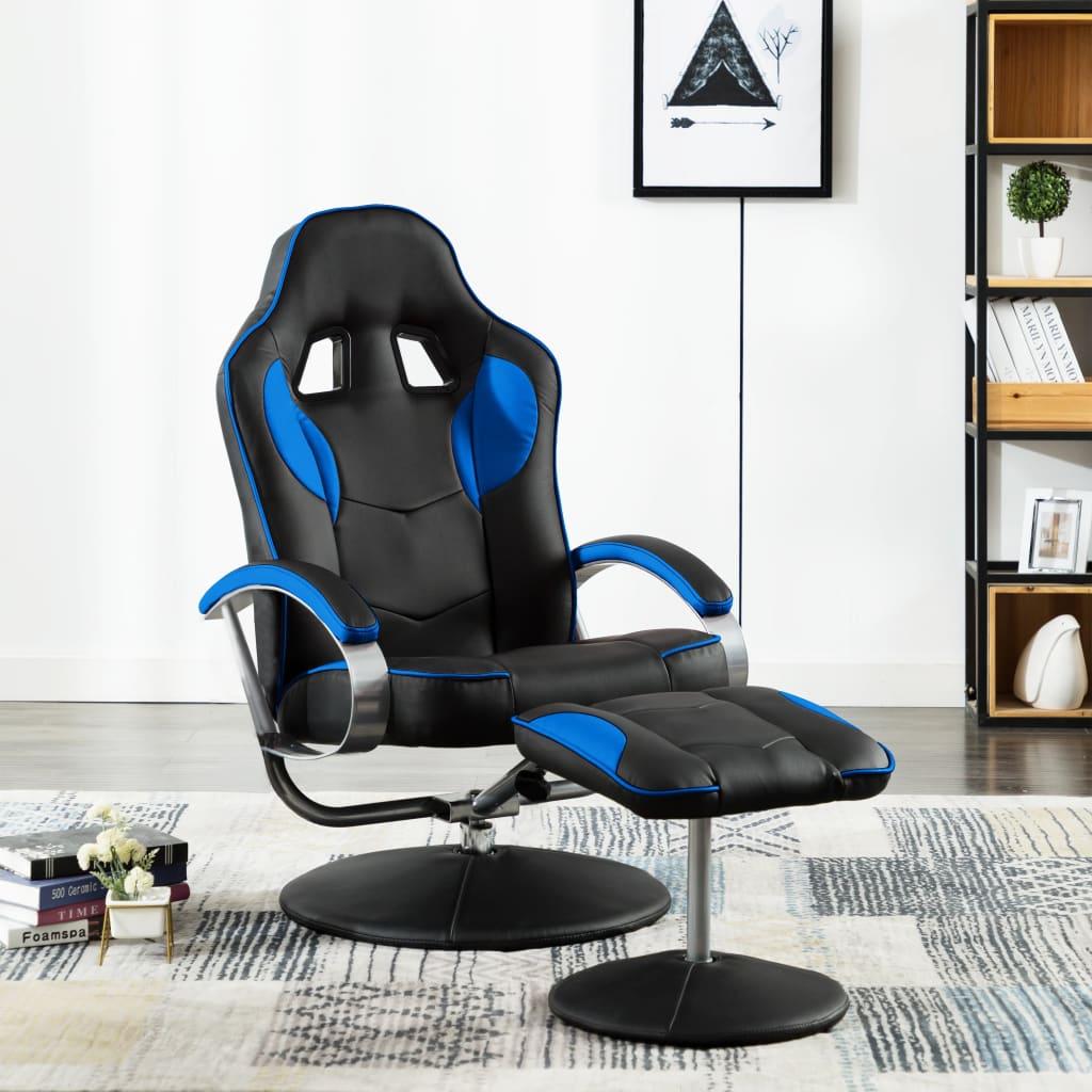 vidaXL Rozkładany fotel dla gracza z podnóżkiem, niebieski, ekoskóra
