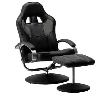 vidaXL Sportovní polohovací židle s podnožkou šedá umělá kůže