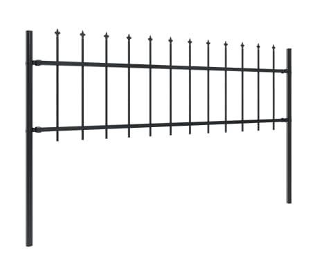 "vidaXL Garden Fence with Spear Top Steel 66.9""x23.6"" Black[2/5]"