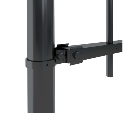 "vidaXL Garden Fence with Spear Top Steel 66.9""x23.6"" Black[3/5]"