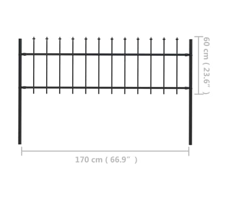 "vidaXL Garden Fence with Spear Top Steel 66.9""x23.6"" Black[5/5]"