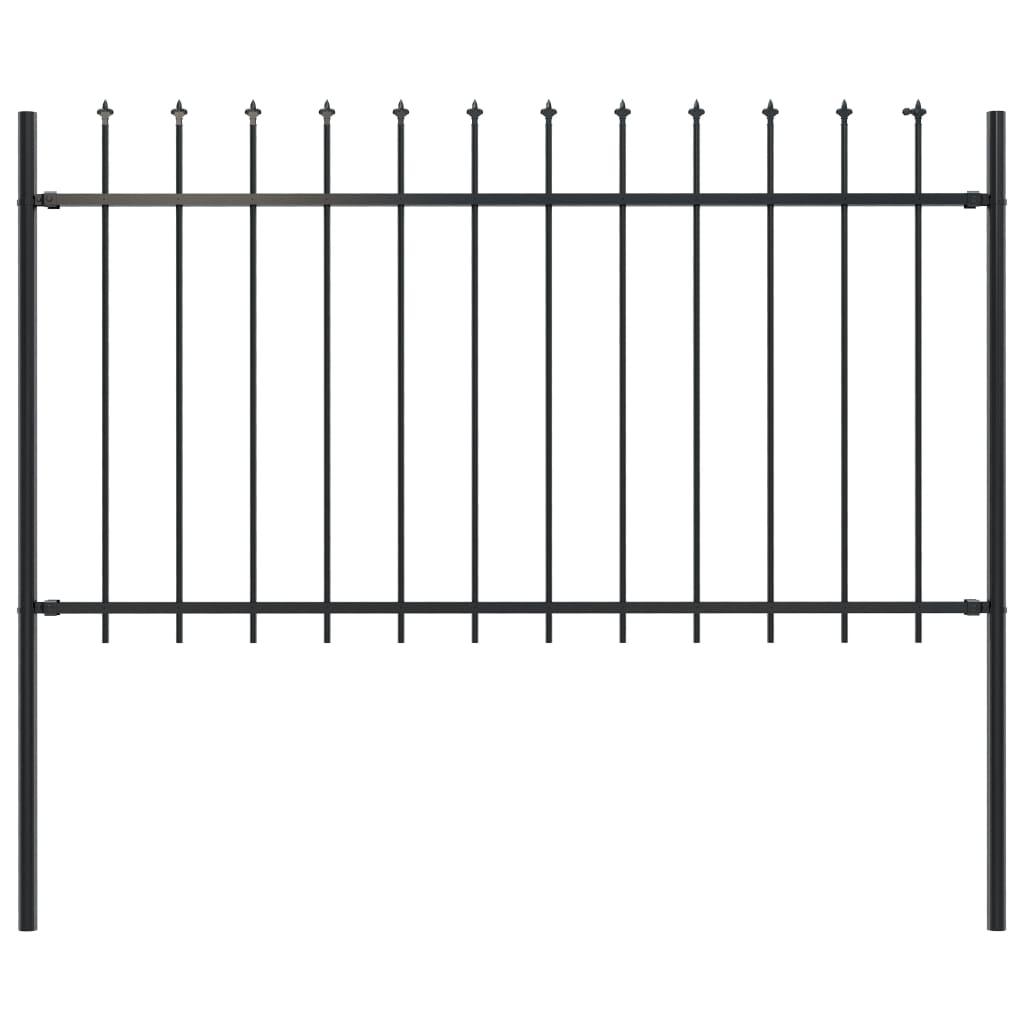 vidaXL Gard de grădină cu vârf suliță, negru, 1,7 x 1 m, oțel imagine vidaxl.ro