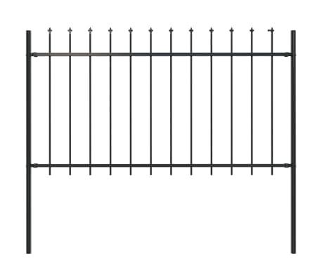"vidaXL Garden Fence with Spear Top Steel 66.9""x39.4"" Black"