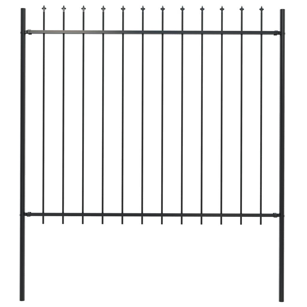 vidaXL Gard de grădină cu vârf suliță, negru, 1,7 x 1,5 m, oțel poza vidaxl.ro