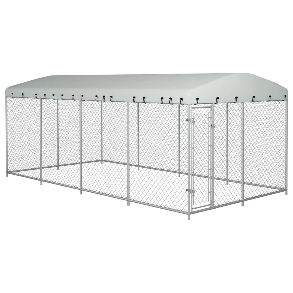 vidaXL Padoc pentru câini de exterior, cu acoperiș, 8 x 4 x 2 m imagine vidaxl.ro