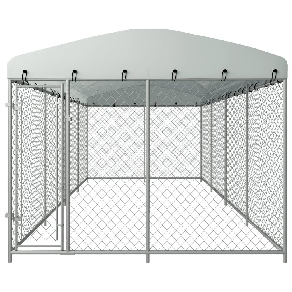 vidaXL Hondenkennel voor buiten met dak 8x4x2 m