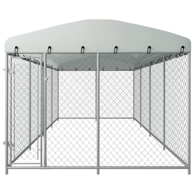 "vidaXL Outdoor Dog Kennel with Roof 315""x157.5""x78.7""[2/5]"