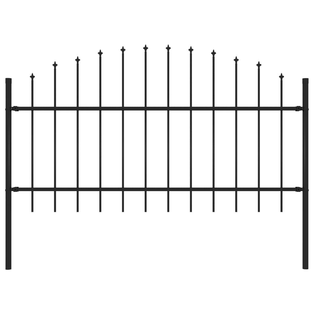 vidaXL Gard de grădină cu vârf suliță, negru, (1-1,25) x 1,7 m, oțel poza 2021 vidaXL