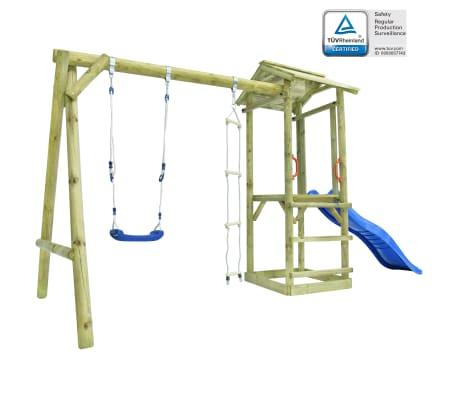 vidaXL Loc de joacă, scară, tobogan & leagăn, 400x150x220 cm, lemn