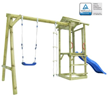 vidaXL Parque infantil con escalera, tobogán y columpio de madera FSC[1/7]