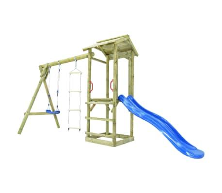 vidaXL Parque infantil con escalera, tobogán y columpio de madera FSC[3/7]