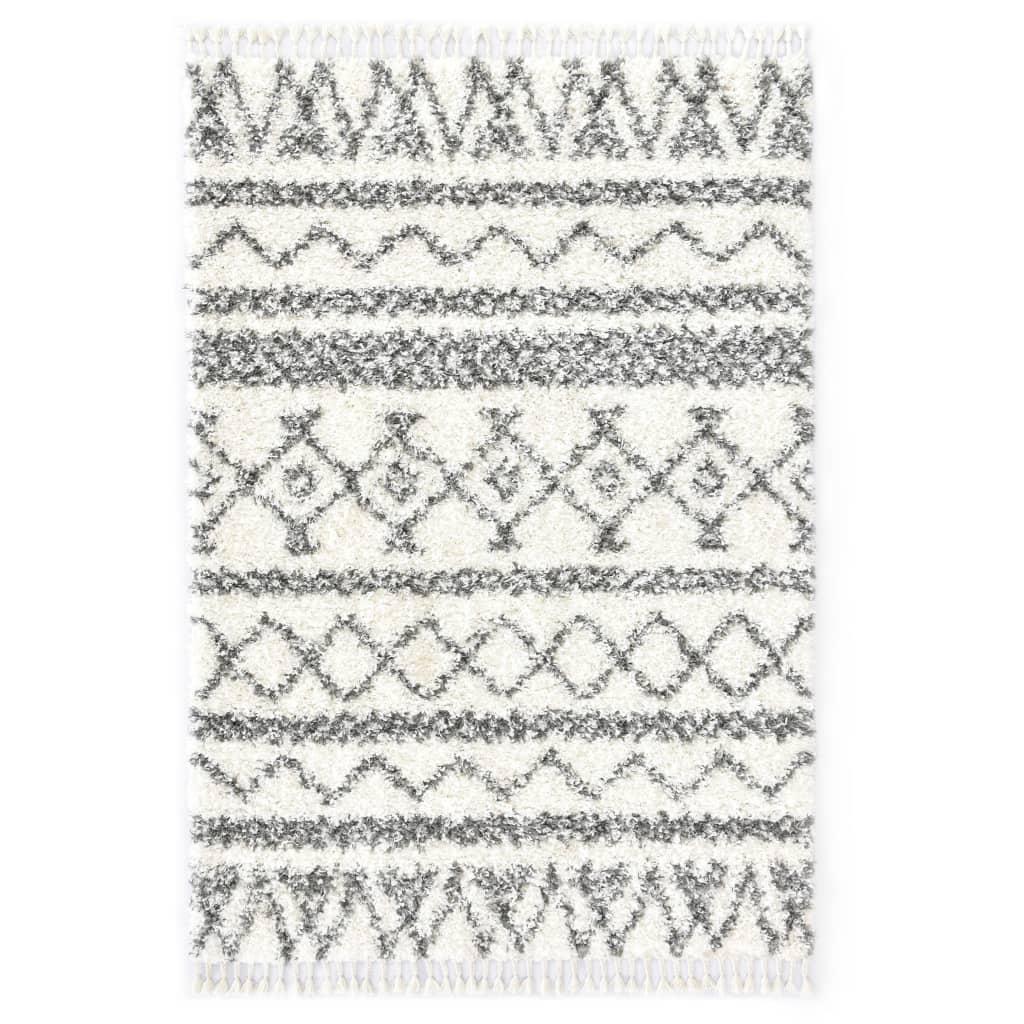 Berberteppich Hochflor PP Beige und Grau 140×200 cm