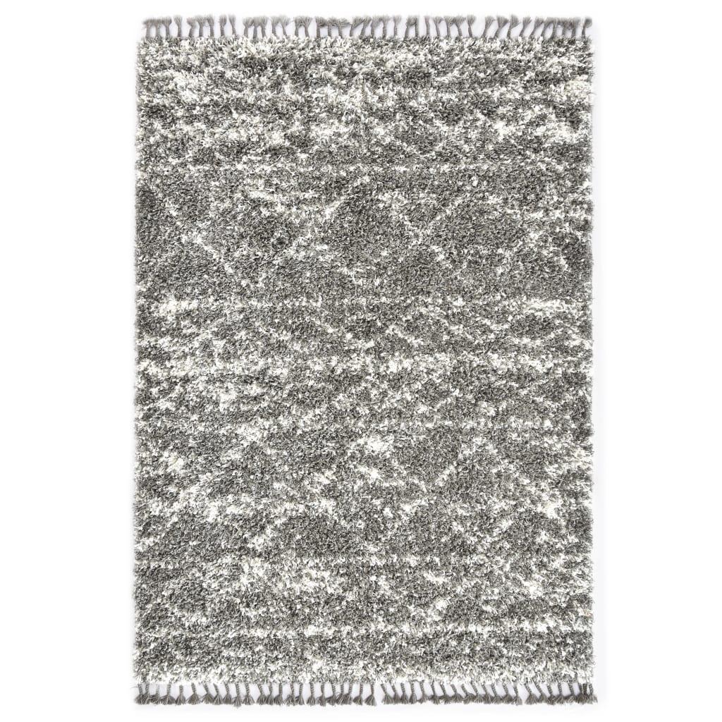 Berberteppich Hochflor PP Grau und Beige 80 × 150 cm