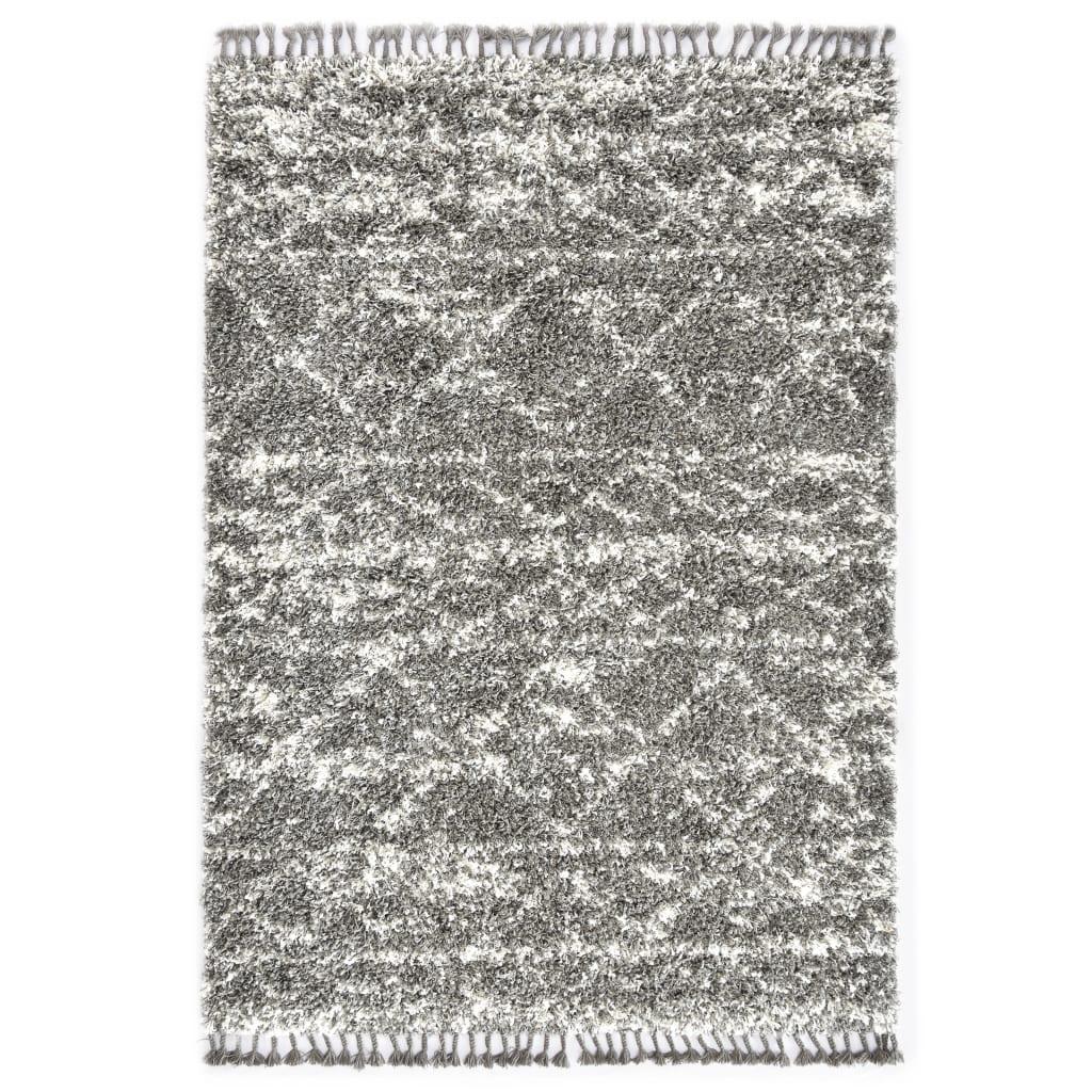 Berberteppich Hochflor PP Grau und Beige 120 × 170 cm