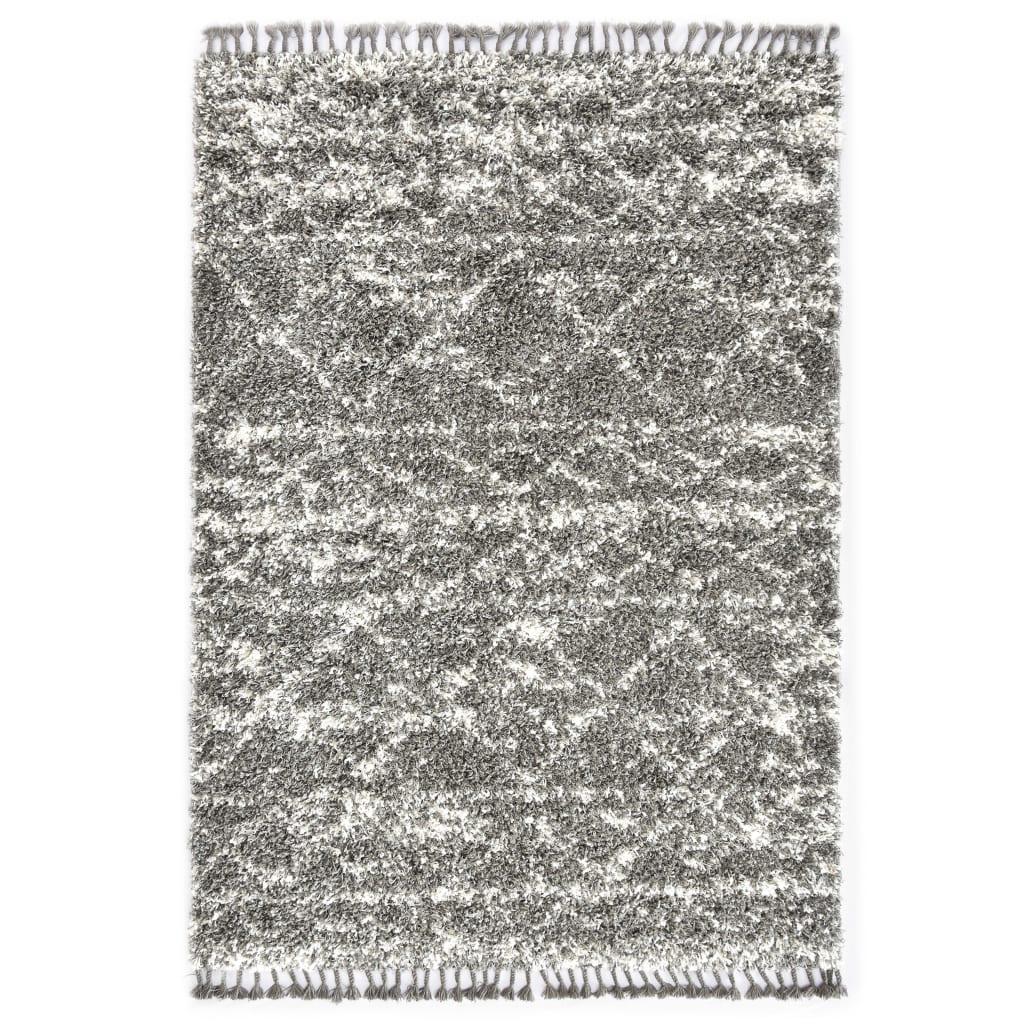 vidaXL Tapijt Berber shaggy hoogpolig 160x230 cm PP grijs en beige