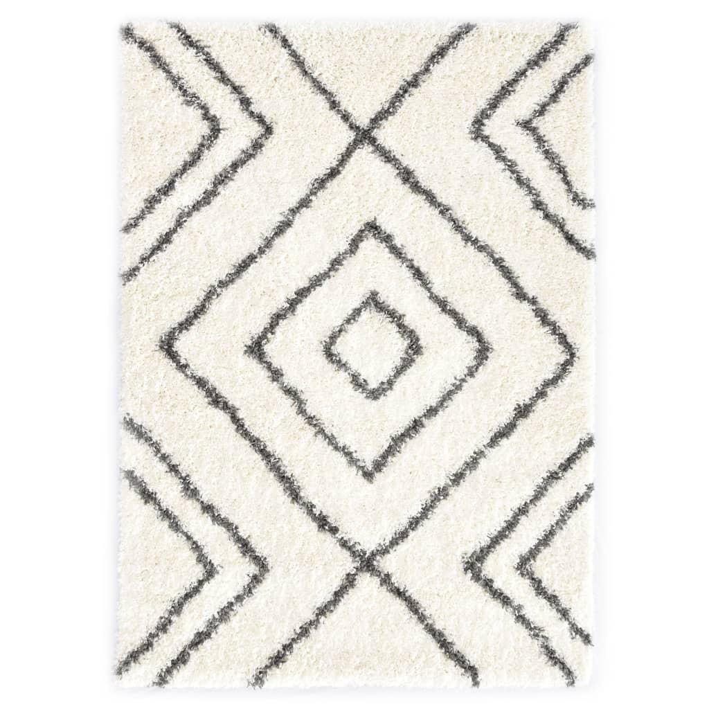 Berberteppich Hochflor PP Beige und Grau 120×170 cm