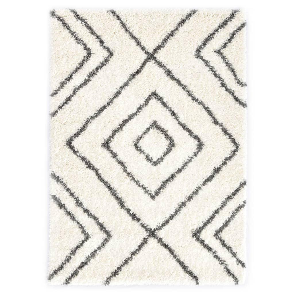Berberteppich Hochflor PP Beige und Grau 140 × 200 cm