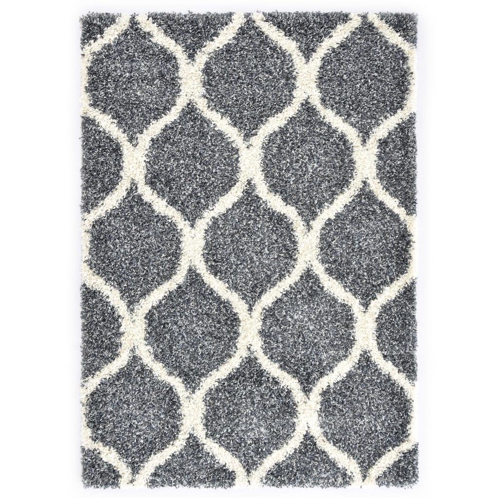Berberteppich Hochflor PP Blau und Beige 80 × 150 cm