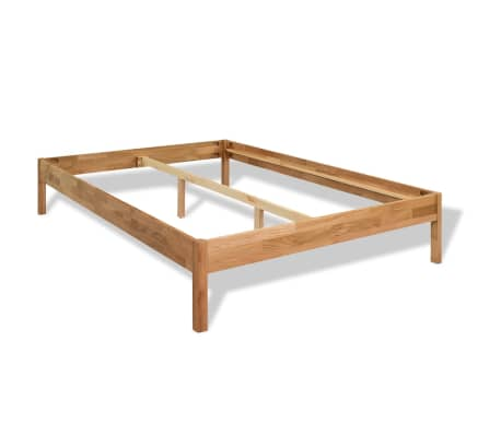 "vidaXL Bed Frame Solid Oak Wood 59.8""x79.9""[2/8]"