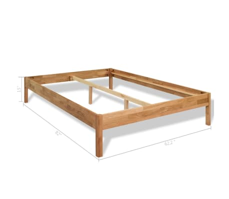 "vidaXL Bed Frame Solid Oak Wood 59.8""x79.9""[8/8]"