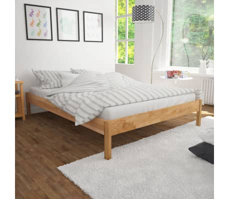 "vidaXL Bed Frame Solid Oak Wood 59.8""x79.9""[1/8]"