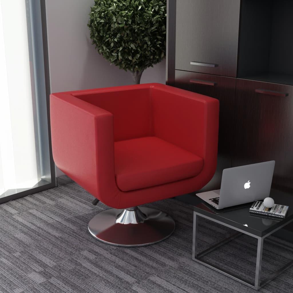 vidaXL Fotel obrotowy, czerwony, sztuczna skóra