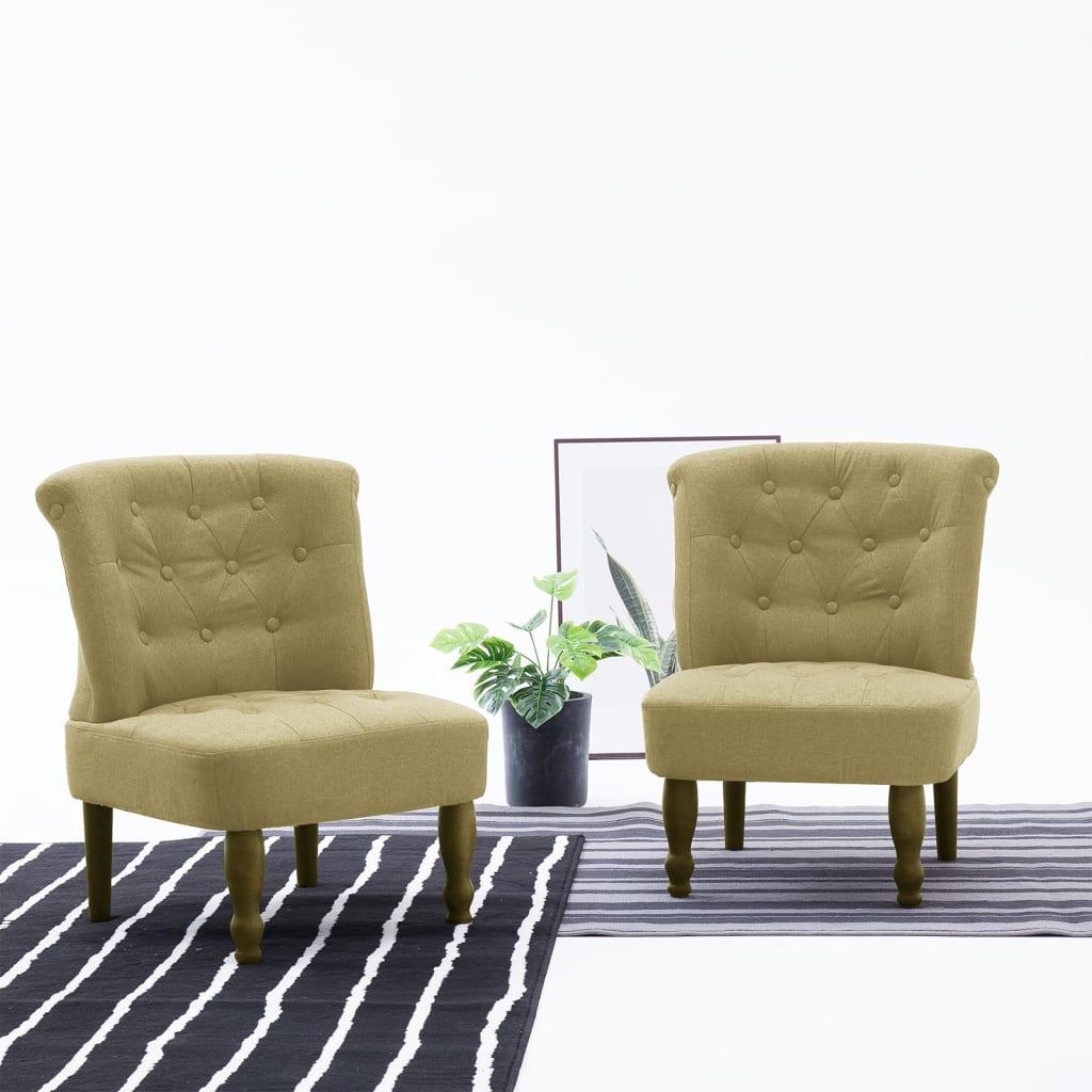 vidaXL Scaun stil franțuzesc, verde, material textil poza 2021 vidaXL