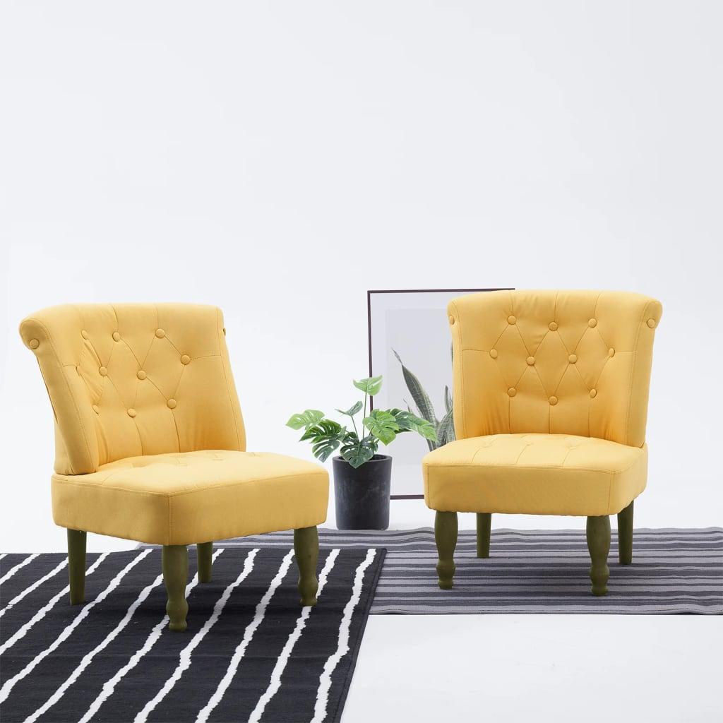 Francuska stolica od tkanine žute