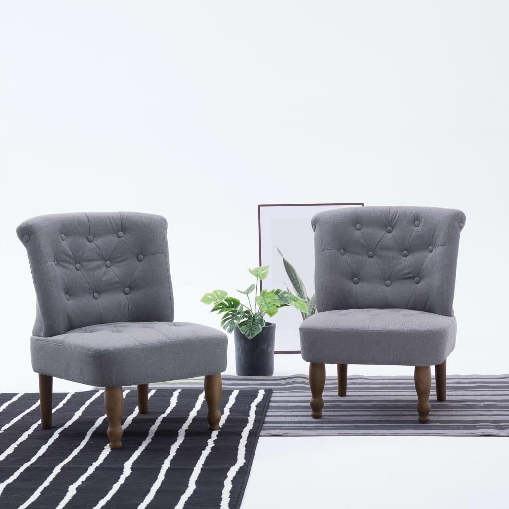 vidaXL Scaune stil franțuzesc, 2 buc., gri deschis, material textil poza vidaxl.ro