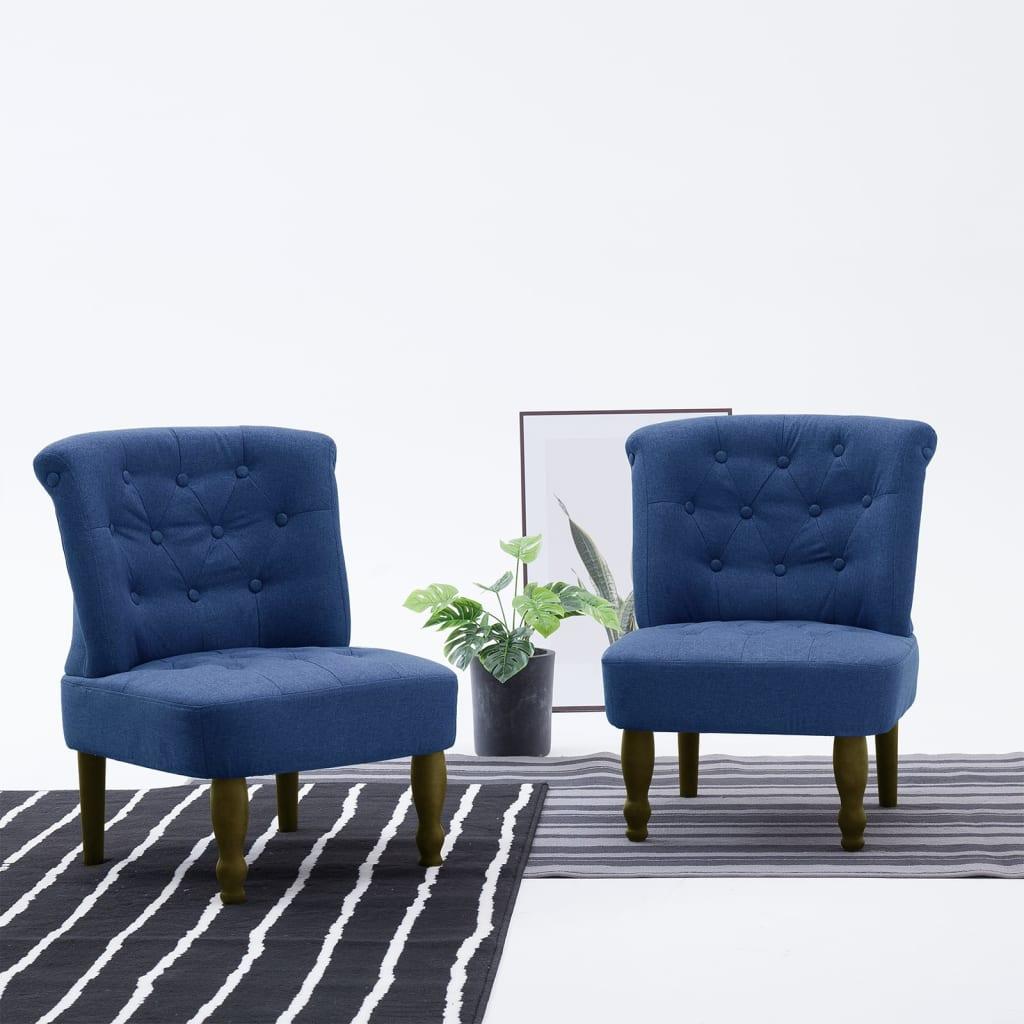 vidaXL Scaune stil franțuzesc, 2 buc., albastru, material textil imagine vidaxl.ro