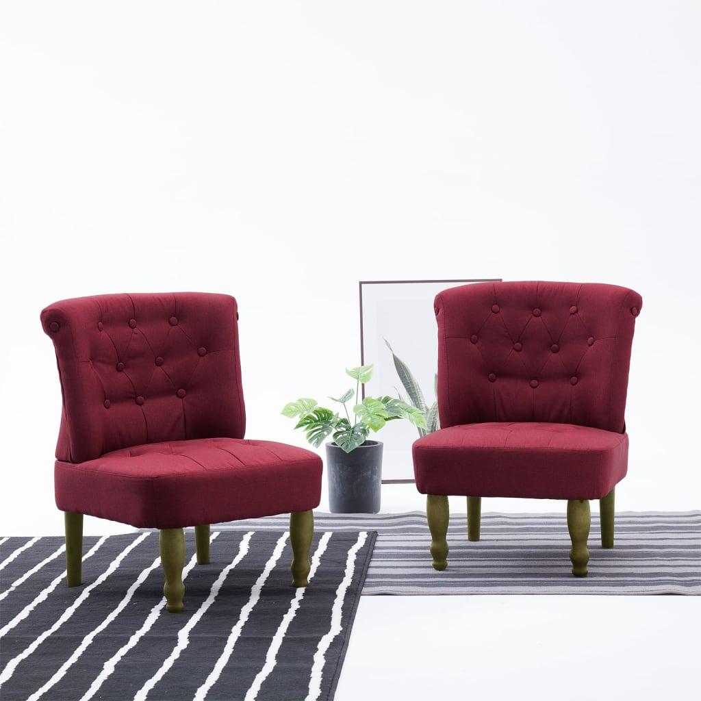 vidaXL Scaune stil franțuzesc, 2 buc., roșu vin, material textil vidaxl.ro