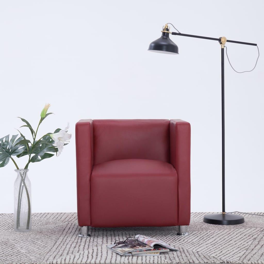 vidaXL Fotel kubik, kolor czerwonego wina, sztuczna skóra