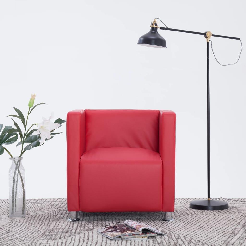 vidaXL Fotel kubik, czerwony, sztuczna skóra