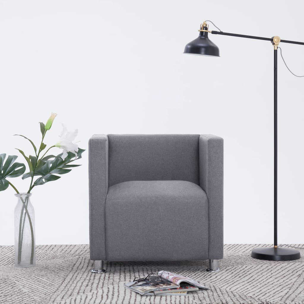 vidaXL Fotel kubik, jasnoszary, tkanina
