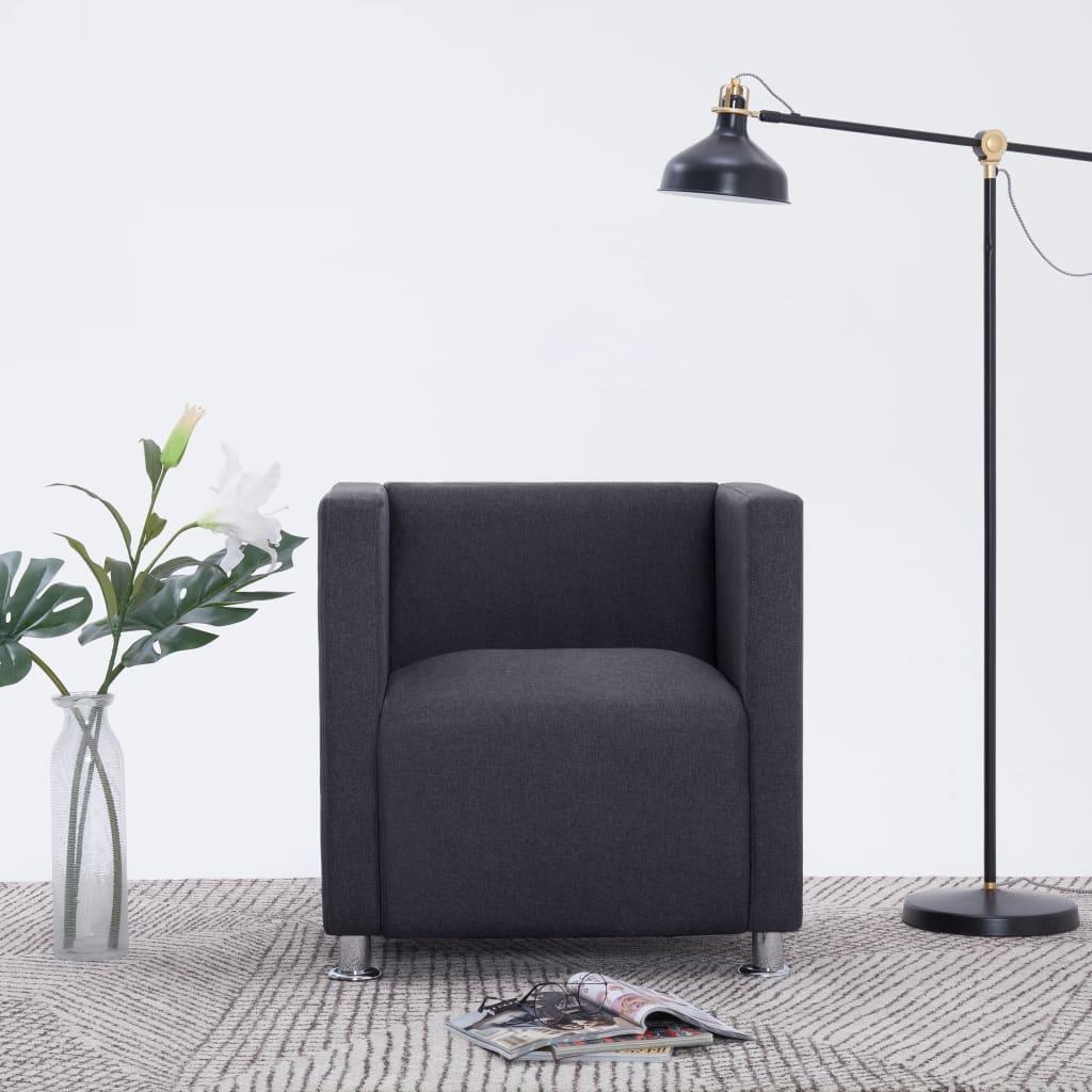 vidaXL Fotel kubik, ciemnoszary, tkanina