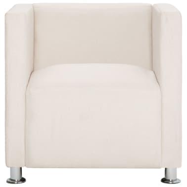 vidaXL Kubformad fåtölj gräddvit polyester[3/9]
