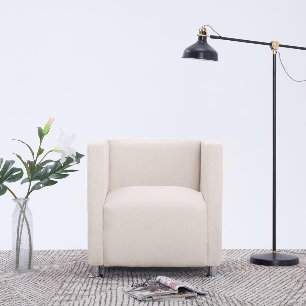 vidaXL Fotel kubik, kremowy, tkanina