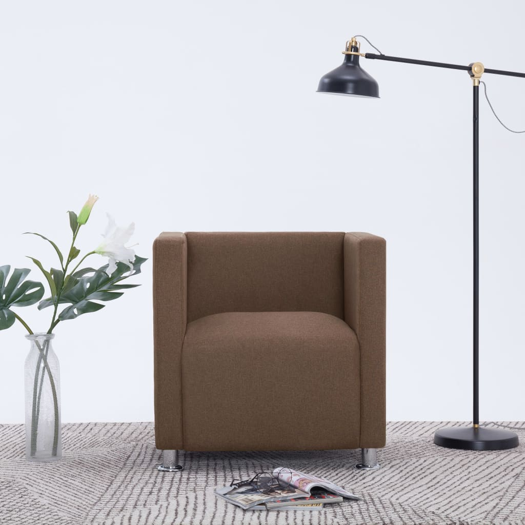 vidaXL Fotel kubik, brązowy, tkanina