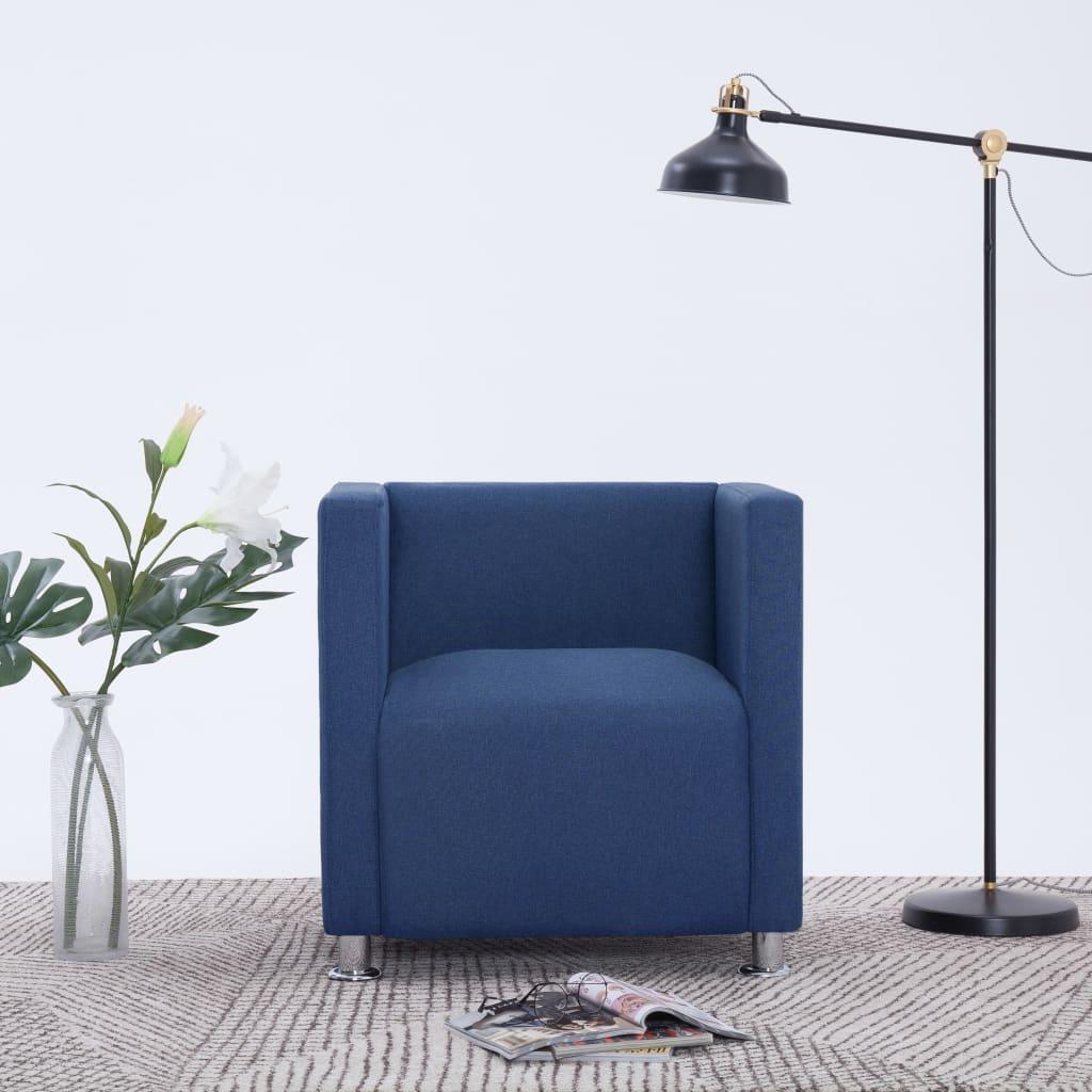 vidaXL Fotel kubik, niebieski, tkanina