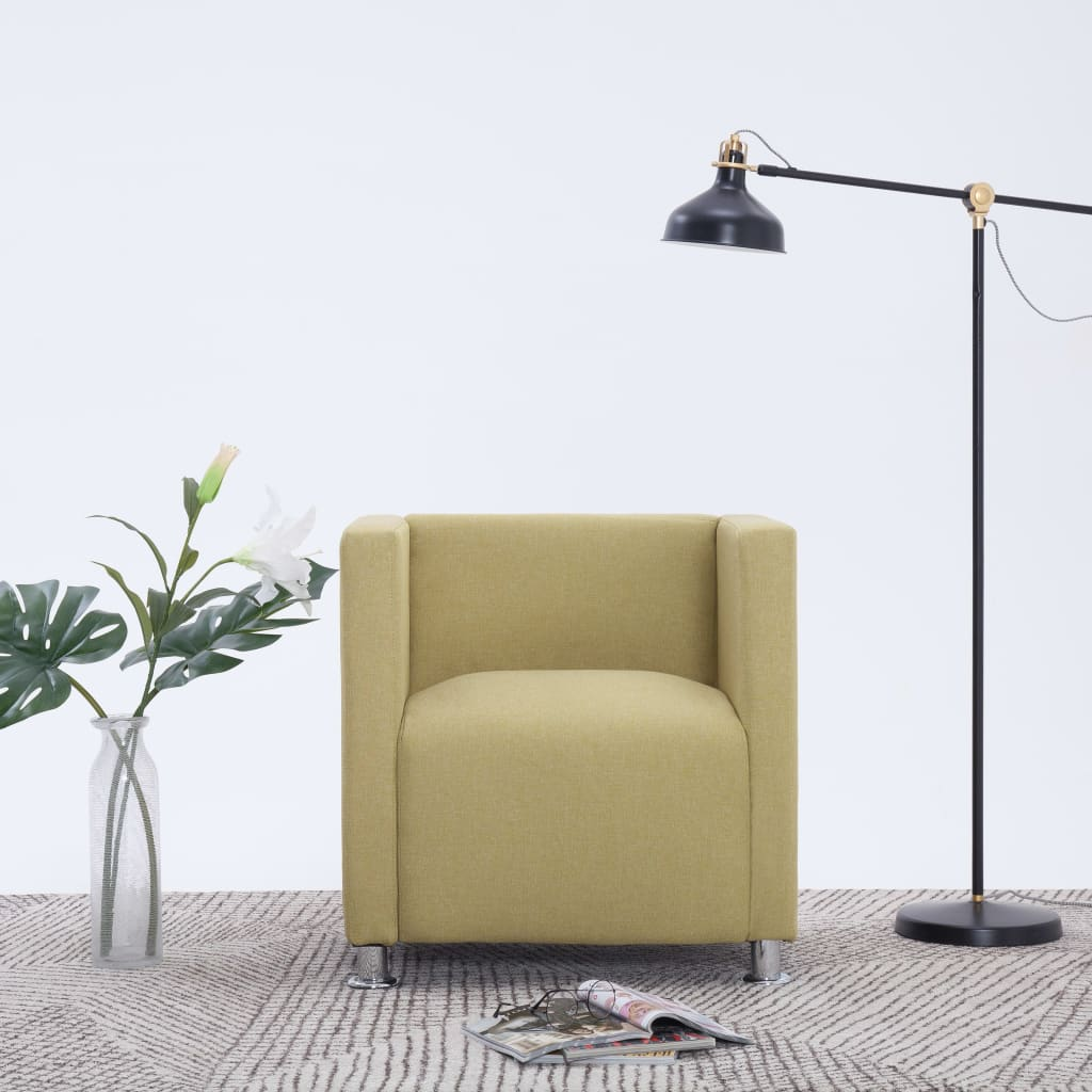 vidaXL Fotel kubik, zielony, tkanina