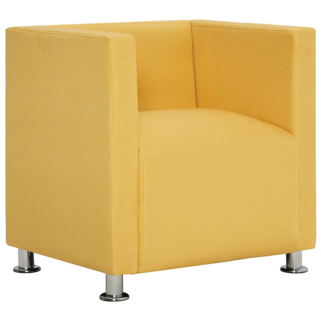 vidaXL Πολυθρόνα Cube Κίτρινη από Πολυεστέρα