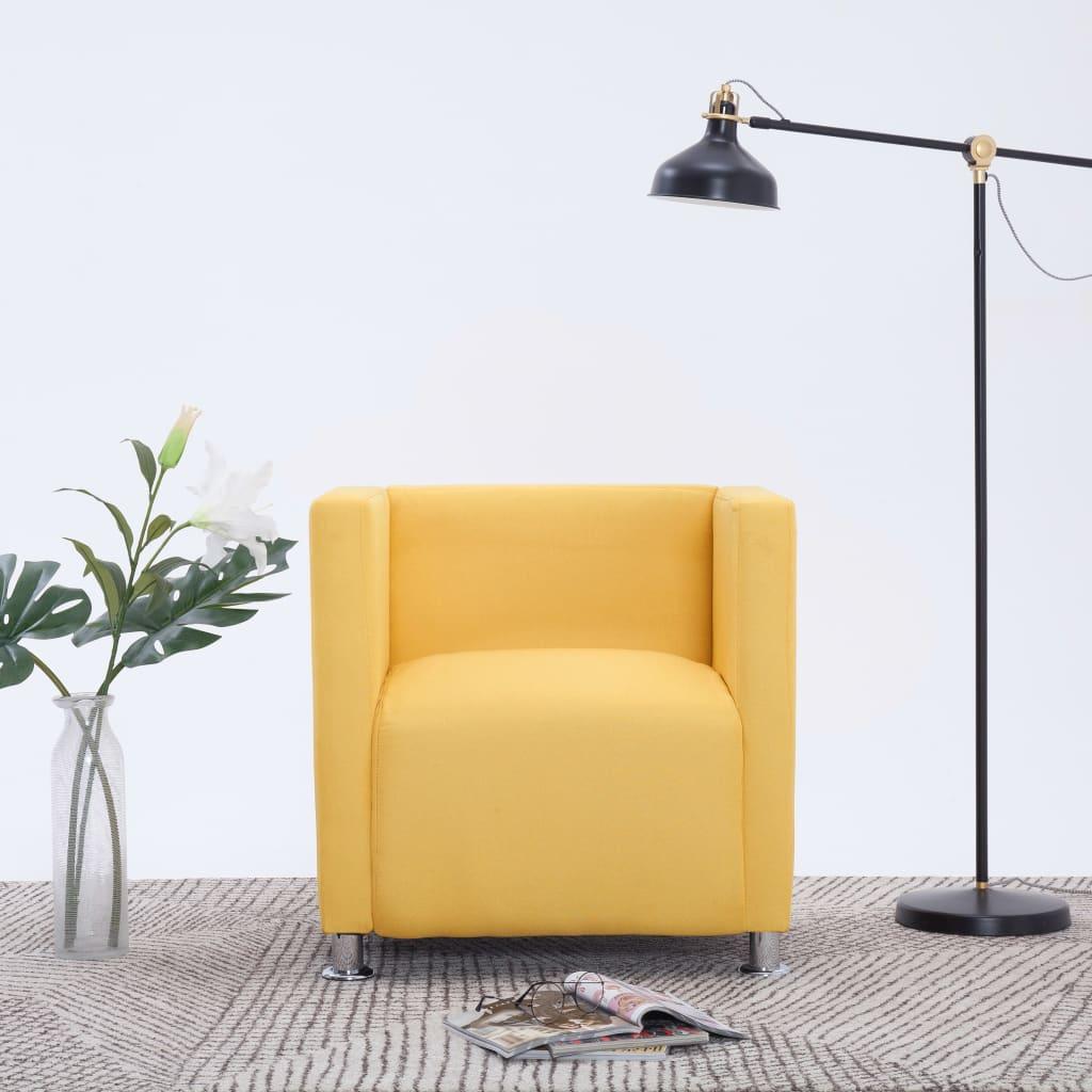 vidaXL Fotel kubik, żółty, tkanina