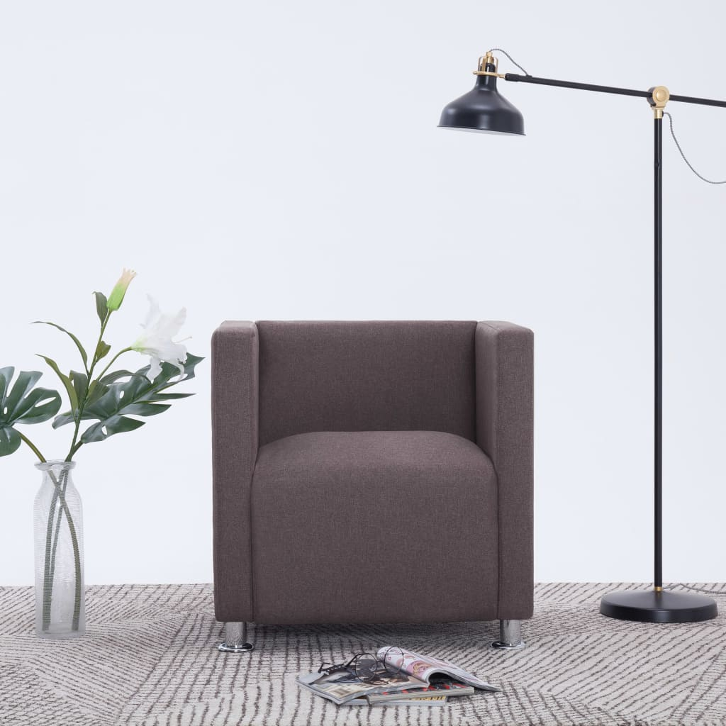 vidaXL Fotel kubik, taupe, tkanina
