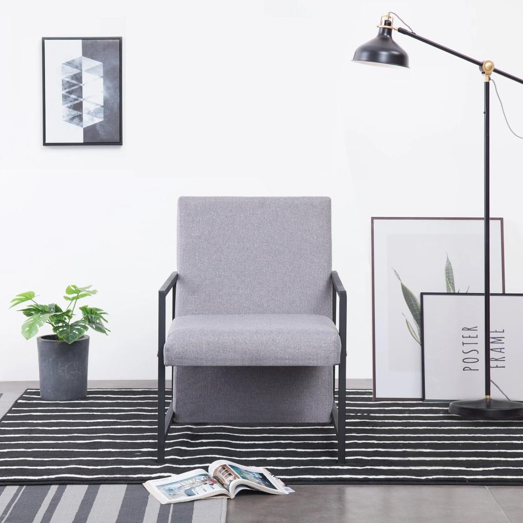 vidaXL Fotel z chromowanymi nóżkami, jasnoszary, materiałowy
