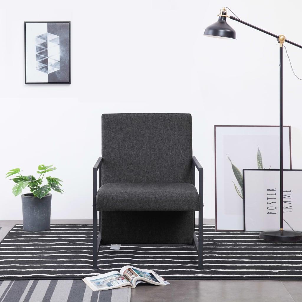 vidaXL Fotel z chromowanymi nóżkami, ciemnoszary, materiałowy