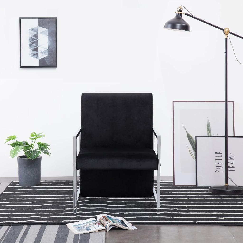 vidaXL Fotel z chromowanym nóżkami, czarny, aksamit